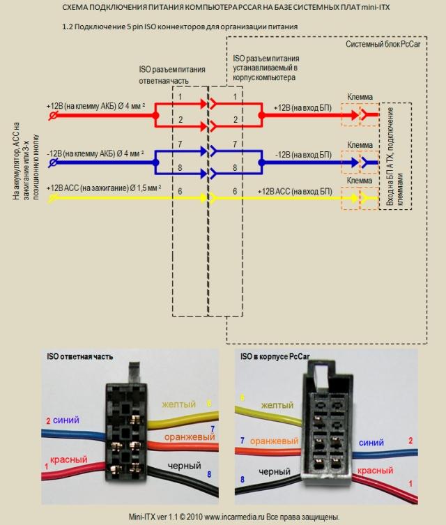 Подключение 5 pin ISO коннекторов для организации питания.  Скачать схему в формате PDF.  1.2.